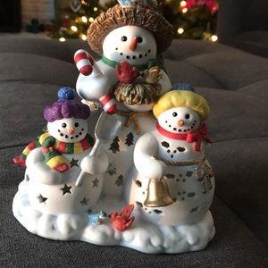 3 Snowmen tea light figurine